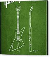 Mccarty Gibson Electrical Guitar Patent Drawing From 1958 - Green Canvas Print by Aged Pixel