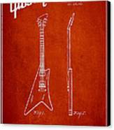 Mccarty Gibson Stringed Instrument Patent Drawing From 1958 - Red Canvas Print by Aged Pixel
