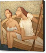 Pair In A Boat  Canvas Print by Nicolay  Reznichenko