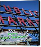 Seattle Market Sign Canvas Print by Brian Jannsen