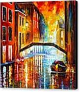 The Canals Of Venice Canvas Print by Leonid Afremov