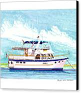 37 Foot Marine Trader 37 Trawler Yacht At Anchor Canvas Print by Jack Pumphrey