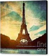 Eiffel Tower In Paris Fance In Retro Style Canvas Print by Michal Bednarek