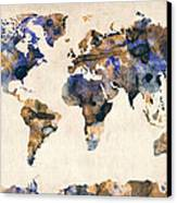 World Map Watercolor Canvas Print by Michael Tompsett