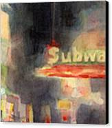 42nd Street Subway Watercolor Painting Of Nyc Canvas Print by Beverly Brown Prints