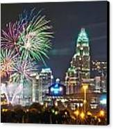 4th Of July Firework Over Charlotte Skyline Canvas Print by Alex Grichenko