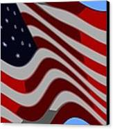 50 Star American Flag Closeup Abstract 6 Canvas Print by L Brown