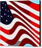 50 Star American Flag Closeup Abstract 7 Canvas Print by L Brown