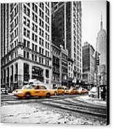 5th Avenue Yellow Cab Canvas Print by John Farnan
