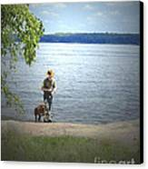 A Boy And His Dog Canvas Print by Sandra Clark