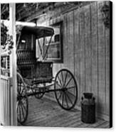 A Buggy On A Porch Bw Canvas Print by Mel Steinhauer