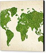 World Grass Map Canvas Print by Aged Pixel