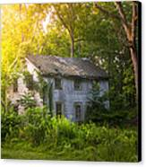 A Fading Memory One Summer Morning - Abandoned House In The Woods Canvas Print by Gary Heller