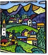 A Folksy Swiss Town Canvas Print by Monica Engeler