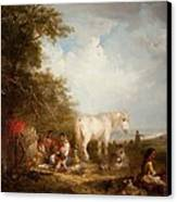 A Gypsy Scene Canvas Print by Edward Robert Smythe