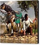 A Hunter And His Horse Canvas Print by Daniel Eskridge