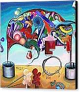 A Love Story/abstraction Of An Elephant Enhanced  Canvas Print by George Curington