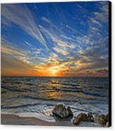 A Majestic Sunset At The Port Canvas Print by Ron Shoshani