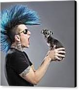 A Man With A Blue Mohawk Yells At His Canvas Print by Leah Hammond