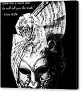 A Picture Of A Venitian Mask Accompanied By An Oscar Wilde Quote Canvas Print by Nila Newsom
