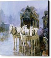 A Rainy Day In Paris Canvas Print by Ulpiano Checa y Sanz