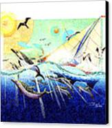 A Tern With The Dolphins Canvas Print by David  Chapple