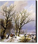 A Wooded Winter Landscape With Figures Canvas Print by Verboeckhoven and Klombeck