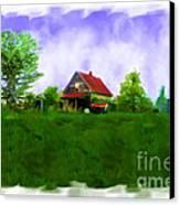 Abandond Farm House Digital Paint Canvas Print by Debbie Portwood