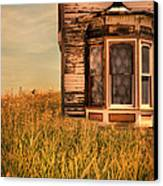 Abandoned House In Grass Canvas Print by Jill Battaglia