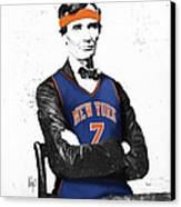 Abe Lincoln In A Carmelo Anthony New York Knicks Jersey Canvas Print by Roly Orihuela