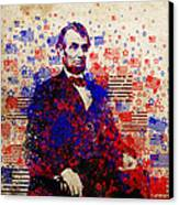 Abraham Lincoln With Flags Canvas Print by Bekim Art
