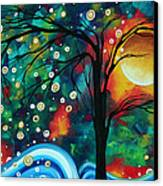 Abstract Art Original Landscape Painting Bold Circle Of Life Design Dance The Night Away By Madart Canvas Print by Megan Duncanson