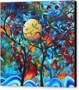 Abstract Contemporary Colorful Landscape Painting Lovers Moon By Madart Canvas Print by Megan Duncanson