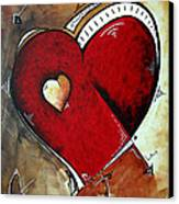 Abstract Heart Original Painting Valentines Day Heart Beat By Madart Canvas Print by Megan Duncanson
