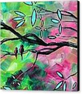 Abstract Landscape Bird And Blossoms Original Painting Birds Delight By Madart Canvas Print by Megan Duncanson