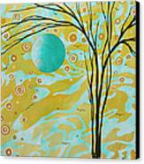 Abstract Landscape Painting Animal Print Pattern Moon And Tree By Madart Canvas Print by Megan Duncanson