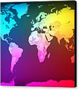 Abstract Map Of The World Canvas Print by Michael Tompsett