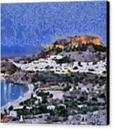 Acropolis Village And Beach Of Lindos Canvas Print by George Atsametakis