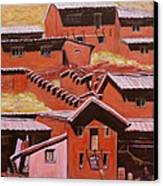 Adobe Village - Peru Impression II Canvas Print by Xueling Zou