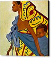 African Mother And Child Canvas Print by Sher Nasser