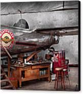 Airplane - The Repair Hanger  Canvas Print by Mike Savad