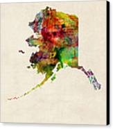 Alaska Watercolor Map Canvas Print by Michael Tompsett