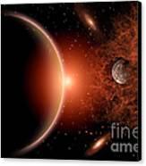 Alien Sunrise On A Distant Alien World Canvas Print by Mark Stevenson