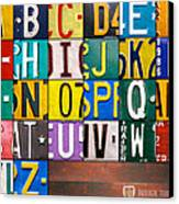 Alphabet License Plate Letters Artwork Canvas Print by Design Turnpike