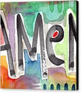 Amen Greeting Card Canvas Print by Linda Woods