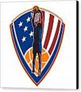 American Basketball Player Dunk Ball Shield Retro Canvas Print by Aloysius Patrimonio