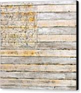 American Flag On Distressed Wood Beams White Yellow Gray And Brown Flag Canvas Print by Design Turnpike