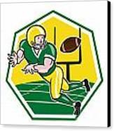 American Football Wide Receiver Catching Ball Cartoon Canvas Print by Aloysius Patrimonio