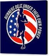 American Marathon Runner Running Power Retro Canvas Print by Aloysius Patrimonio