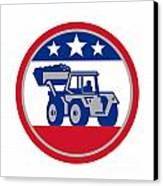 American Mechanical Digger Excavator Retro Canvas Print by Aloysius Patrimonio